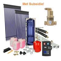 Houtstook enzo Solarpakket 4flex schuindak 300 liter solarboiler, 30 heatpipes subsidie